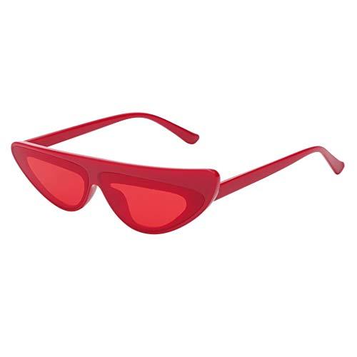 VENMO Mode Herren Retro kleine ovale Sonnenbrille für Damen Metallrahmen Shades Brillen Katzenauge Metall Rand Rahmen Damen Frau Mode Sonnebrille Gespiegelte Linse Women Sunglasses (R-A)