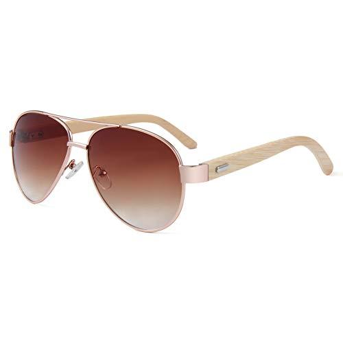 Zbertx Klassische Holz Sonnenbrille Pilot Metallrahmen Bambus Sonnenbrille Männer Aluminium Luxury Shades Uv400,Farbverlauf Brown
