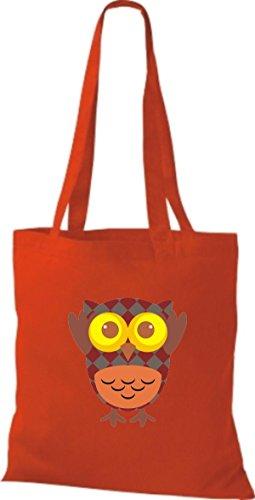ShirtInStyle Jute Stoffbeutel Bunte Eule niedliche Tragetasche mit Punkte Karos streifen Owl Retro diverse Farbe, schwarz rot