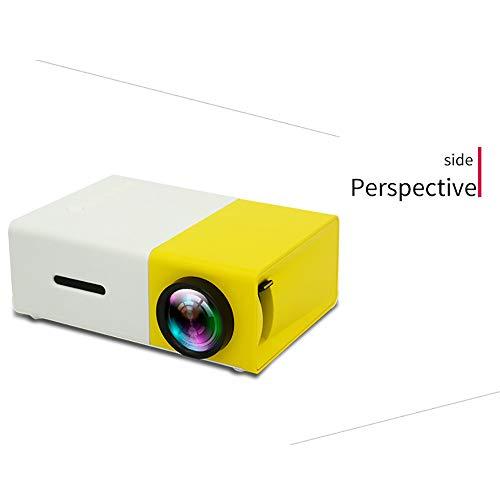 HLKYB Tragbarer Mini-Larb-LED-Projektor für Kindergeschenke, Video-Film, Outdoor-Unterhaltung mit HDMI USB-AV-Interfaces und Fernbedienung,yellowandwhite - 12a 2 Bank