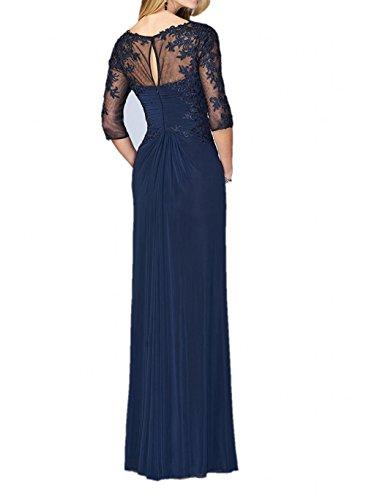 Charmant Damen Navy Blau V-ausschnitt Spitze Promkleider Cocktailkleider Abiballkleider Lang A-linie Rock Chiffon Navy Blau