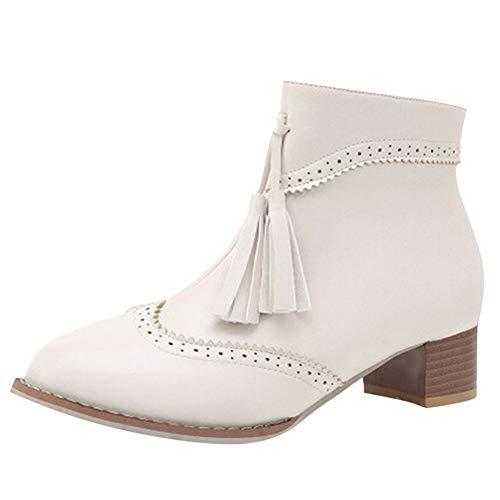 UFACE Retro Frauen Platz Hohe Schuhe Anti-Slip Reißverschluss Quaste Mittleren Ferse Stiefel.