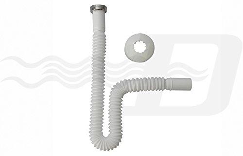 CANOTTO TUBO SCARICO FLESSIBILE ESTENSIBILE X SIFONE LAVELLO LAVABO BIDET 1 1/4'x32 mm CON ROSONE E GHIERA METALLO