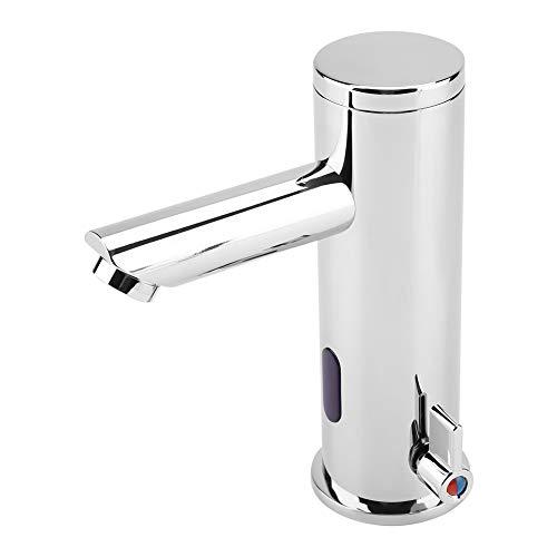 Grifo de sensor, cromado, 1/2 conector de infrarrojos automático para agua fría y caliente, mezclador de lavabo para baño