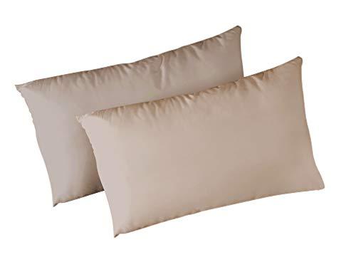 Panini tessuti coppia federe in 100% cotone per cuscino guanciale 52x82 cm made in italy (beige)