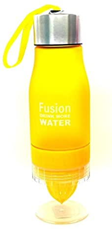 Fusion Fruit Infuser Frosted Water Bottle | Detox Slimming Water Infusing | Infusion Drink | BPA Free | Built en Citrus Hand Juicer jaune
