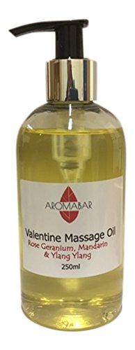 San valentino olio massaggi 250ml con pompa distributore (rosa geranio, ylang ylang and mandarino olii essenziali) regalo romantico