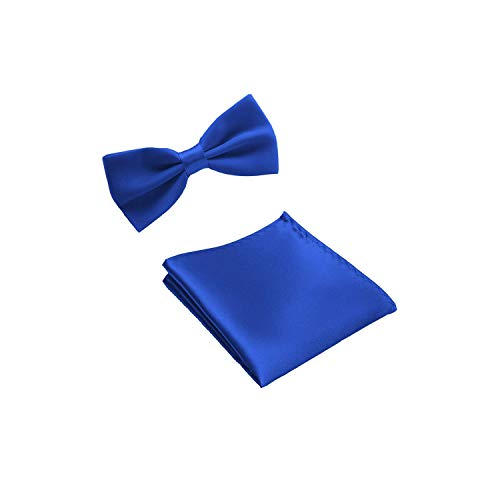 Pevv Wason men bow ties Mens Bowties And Pocket Squares Handkerchief Bowtie Set Wedding Party Pocket Square,Royal Blue (Mint Blau Bow Tie)