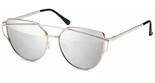 UVprotect Damen Katzenauge cat eye Sonnenbrille silber-silber W99-4