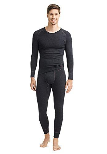 con-ta Thermo Lange Hose mit Eingriff, Lange Unterhose für Herren, wärmende Unterwäsche mit natürlicher Baumwolle, Herrenbekleidung, schwarz Melange, Größe: 7