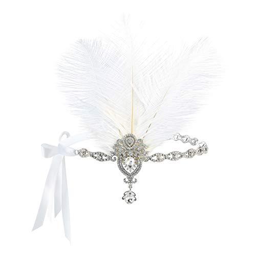 e der 1920er Jahre Kopfschmuck Feder Strass Stirnband Great Gatsby Flapper Haarschmuck MEHRWEG ()