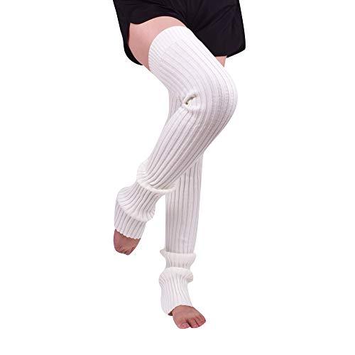 Nanxson Damen Mädchen Extra Lang Basic Leg Warmer Gestrickte Over-Knee Lange Stulpe Beinstulpe Tanzen Strumpf TTW0056 (S 80cm, weiß)
