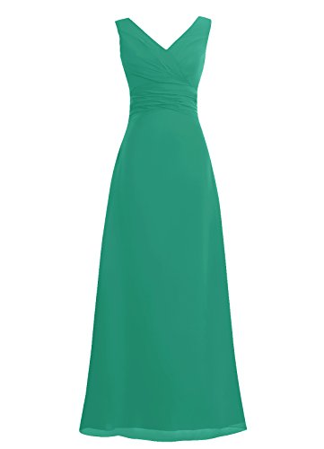Dresstells, Robe de soirée sans manches col en V, robe de cérémonie, robe longue de demoiselle d'honneur Vert
