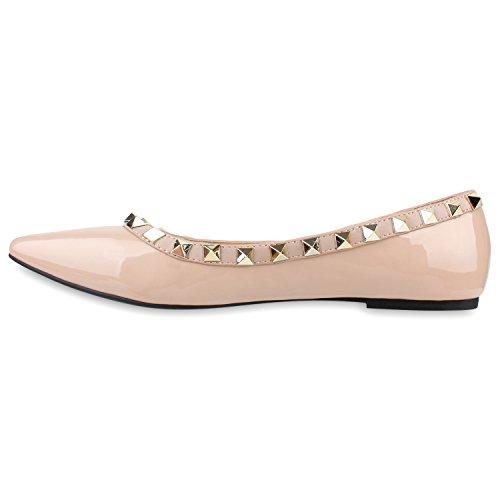Klassische Damen Ballerinas Nieten Lack Schuh Spitze Schuhspitze Nude Lack Steine