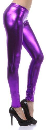 Spandex Leggings Footless Tights (Liquid111 Sakkas Footless Flüssigkeit Wet Look Shiny Metallic Stretch Leggings - Lila / Large)