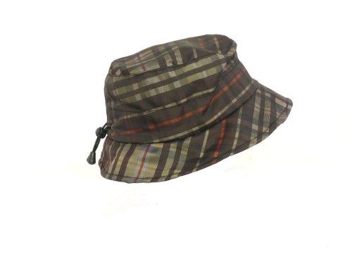 Cappello da pioggia cappello da pescatore con fodera in pile motivo scozzese, 107-KF Braun/Olive Taglia unica