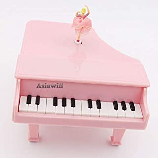 Asiawill Mechanical Classical Piano Music Box Dancing Ballerina Music Box for Kid Christmas Birthday Valentine's day (Pink)