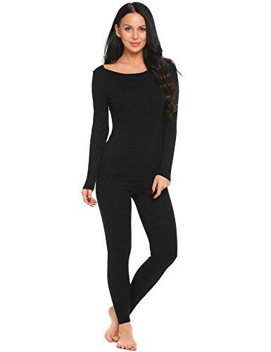 ADOME Damen U-Ausschnitt Thermounterwäsche Set Unterhemd Unterhose Warme Unterwäsche Set Leggings und Langarmshirt Schwarz893