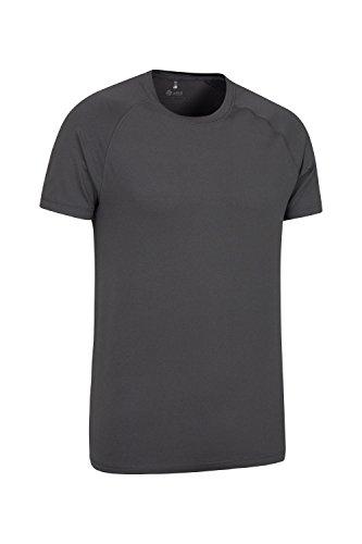 Mountain Warehouse Agra Herren Melange Top T-Shirt Oberteil Leicht Schnell trocknend IsoCool Base Layer Laufen Joggen Radfahren Schwarz