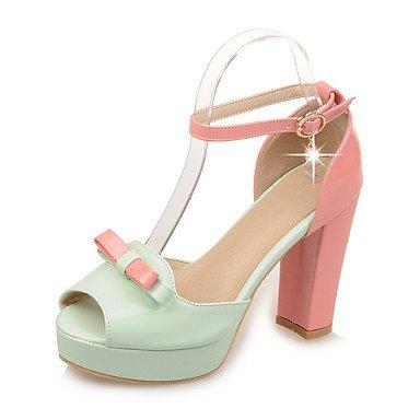 Donne 039 s sandali pompa di base in pelle di brevetto Summer Party di nozze &amp abito da sera della pompa base fibbia Crystal Chunky HeelBlushing GreenBeigeUS5.5 rosa UE36 UK3.5 CN35 US3.5 / EU33 / UK1.5 / CN32