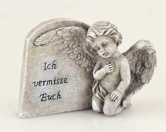 Grabschmuck Engel neben Grabstein kniend und Spruch Ich vermisse Euch Grabengel Trauerschmuck Trauerstein Trauerengel