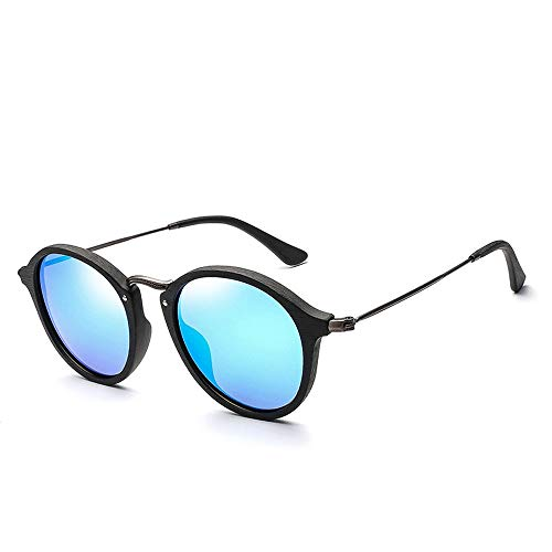Easy Go Shopping Kleine Rahmen Holz Kreis Rahmen Sonnenbrille Mode polarisierte männer Frauen Sonnenbrille Sonnenbrillen und Flacher Spiegel (Color : Blau, Size : Kostenlos)