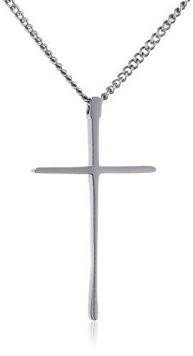 Dünne Kreuz Halskette (Dünnen und Kleinen Edelstahl Kreuz Anhänger Halskette für Damen für Herren Farbe Silber mit 50cm Seil-Kette)