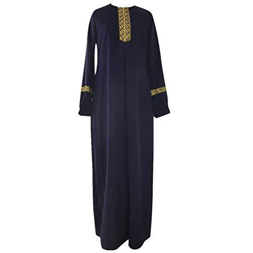 MRENVWS Muslimische Kleider Damen Lange Ärmel Übergröße Maxikleid Islamische Abaya Robe Locker Gestrickten Streifen Voller Länge Abaya Islamische Kleidung Elegant Slim Kleid