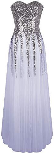 Angel-fashions Damen Pailletten Schatz Schleier Bandage Ballkleid Hochzeitskleid Large Hellgrau
