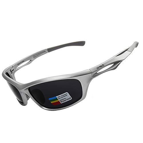 AmDxD PC Bunt Polarisierte Brille Sportbrille Set Fahrradbrille für Motorrad Fahrrad Helmkompatible, Silber