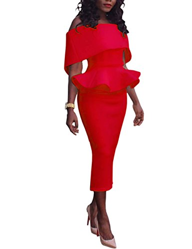 Boutiquefeel Damen Schräge Schulter Fold-over Schulter Peplum Bodycon Kleid Rot S