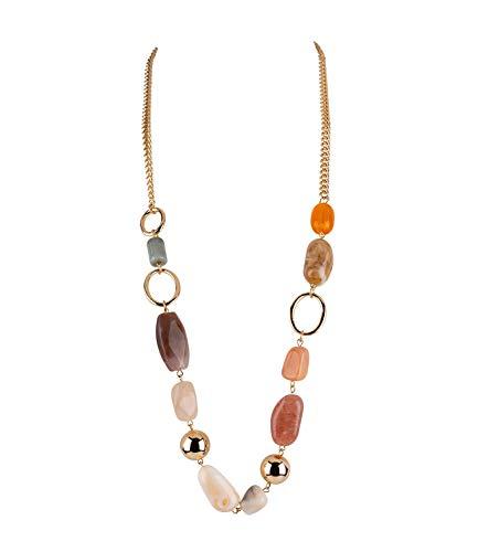 SIX Damen Halskette, Grobgliederkette mit großen goldenen Perlen und Metallkreisen, große Steine in Naturoptik (790-015) (Extra Große Kostüm Ohrringe)