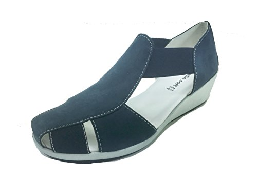 Scarpe donna sandali con zeppa ed elastico in VERA PELLE sottopiede in pelle 255 Blu