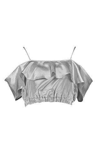 Femmes Argent Kate Cold Shoulder Satin Ruffle Crop Top Argent