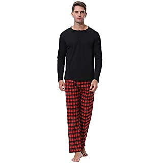 Aibrou Herren Baumwolle Pyjama Set, Winter Warm Langarm Zweiteiliger Schlafanzug, Langarm Shirt mit Kariert Hosen Rot S