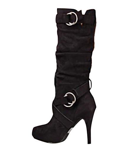 Sexy Boots (Minetom Damen Stiefel Hohe Stiefel Lange Stiefel Wildleder Boots High Heels Sexy Herbst Winter Mode Elegant Chic Schuhe Schwarz 35 EU)