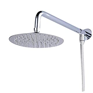 Suguword 20cm Round Wall Mount Rainfall Shower Head with Shower Arm Shower Hose Stainless Steel Chrome Finished Top Shower Set