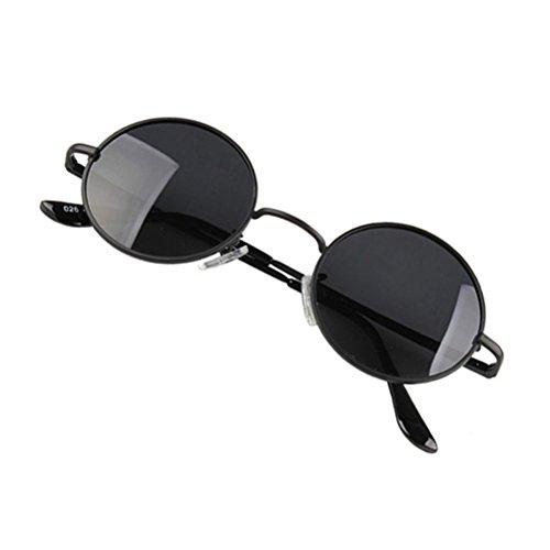 OULII Sonnenbrille denkende Runde Rahmen des Metall der Weinlese Sonnenbrille Spiegel des Kreises Sonnenbrille der Frauen der Männer (Rahmen schwarz mit der Linse grau)