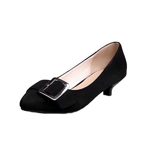 AgooLar Damen Mattglasbirne Schließen Zehe Niedriger Absatz Rein Pumps Schuhe, Schwarz, 43