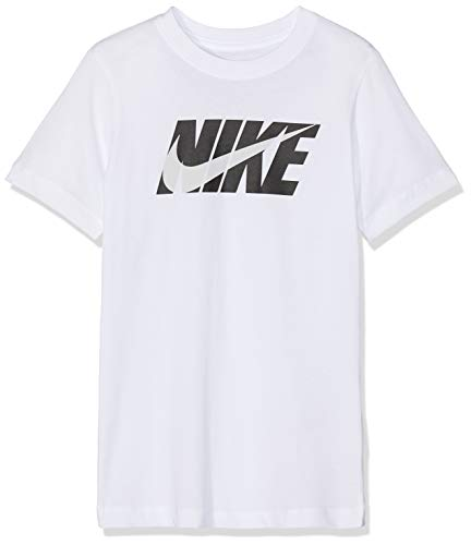 Nike Jungen B NSW Tee Swoosh Block T-Shirt, White/Black, M