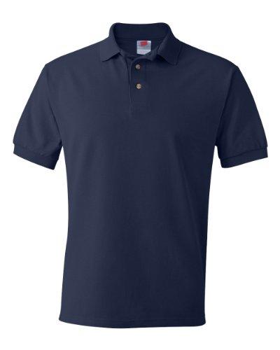 Hanes Herren Baumwolle Poly Welt Kragen und Manschetten Short Sleeve Pique Polo Shirt Blau - Navy