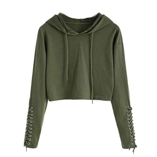iHENGH Sweatshirt, Damen Hoodie Sweatshirt Jumper Sweater Crop Top Mantel Sport Pullover Tops S-XL