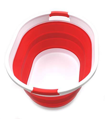 SAMMART Faltbarer Wäschekorb aus Kunststoff - Ovale Wanne/Korb - Faltbarer Aufbewahrungsbehälter/Organizer - Tragbarer Waschtrog - Platzsparender Wäschekorb (Rot)