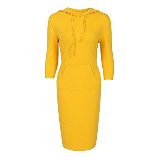 YL Heißer Frauen mit Kapuze Knie Längen Langer Entwurfs Normallack Pullover Kleid Sweatshirts(L,gelb)