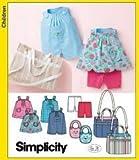 Simplicity pattern 3808babies 'Top, pagliaccetto, bavaglino, borsa per pannolini, maglia e pantaloncini