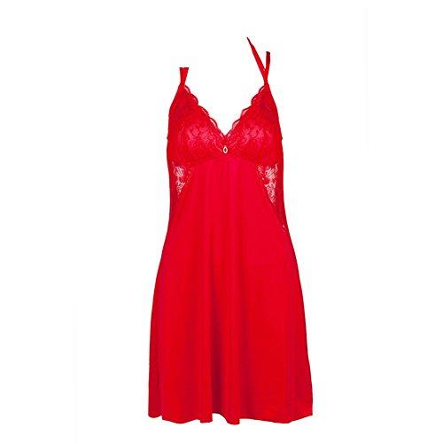 Moda indumenti da notte sexy/VLotus pigiama colletto in pizzo foglia/ Dress bordo/ un pezzo pigiama-A
