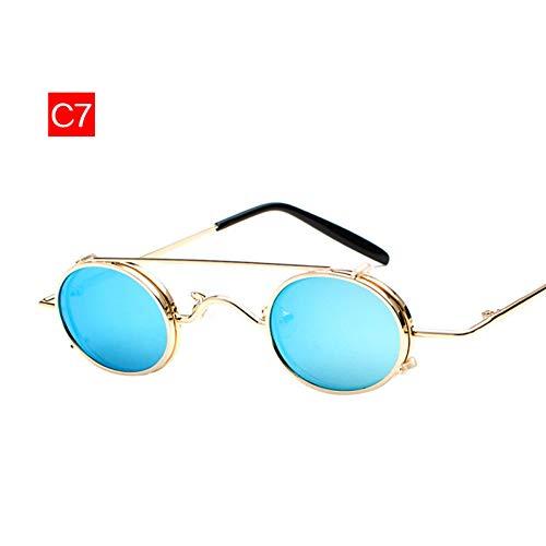 GJYANJING Sonnenbrille Kleine Runde Sonnenbrille Männer Vintage Metall Punk Clip Auf Sonnenbrille Maleretro Brillen Eyewear Steampunk Brille