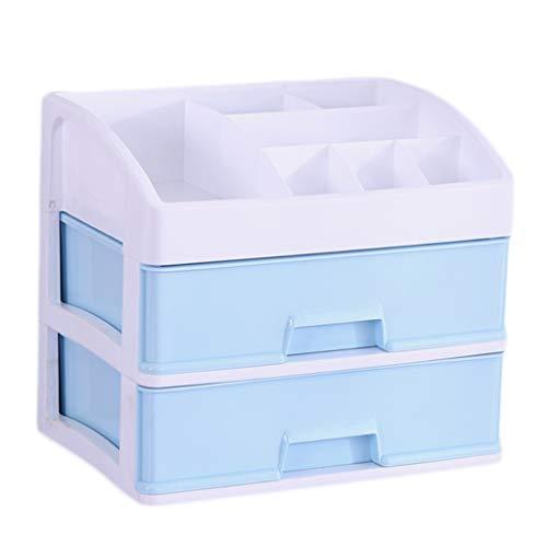KKY-ENTER Boîte de rangement cosmétique Simplicité en plastique Type de tiroir de bureau Rouge à lèvres Bijoux Produits de soin de la peau Boîte de stockage (Couleur : Bleu, taille : 34 * 25 * 29cm)