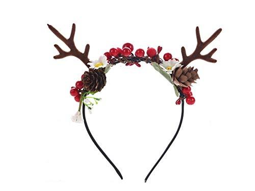 (Godlife Blumenstrauß DIY Geweih Beeren Weihnachten Haarband Stirnband Weihnachtsfeier Kostüm Zubehör (Multicolor) Brautschmuck)
