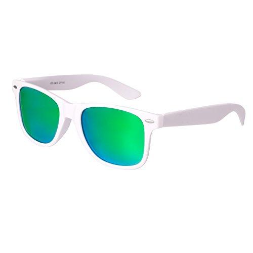 Hochwertige Nerd Sonnenbrille matte Rubber Retro Vintage Unisex Brille mit Federscharnier - 101 verschiedene Farben/Modelle wählbar (Weiß - Grün)